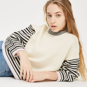 Topshop Whipstitch Striped Sweater Black Cream